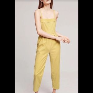 Anthropologie Postmark Mustard Yellow Jumpsuit